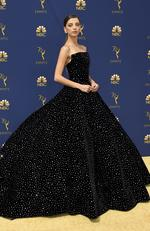 Angela Sarafyan arrives at the 70th Primetime Emmy Awards on Monday, Sept. 17, 2018, at the Microsoft Theater in Los Angeles. (Photo by Jordan Strauss/Invision/AP)
