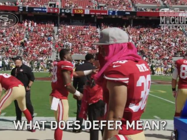 Hayne's still learning the basics of the game, like what happens at the coin toss.