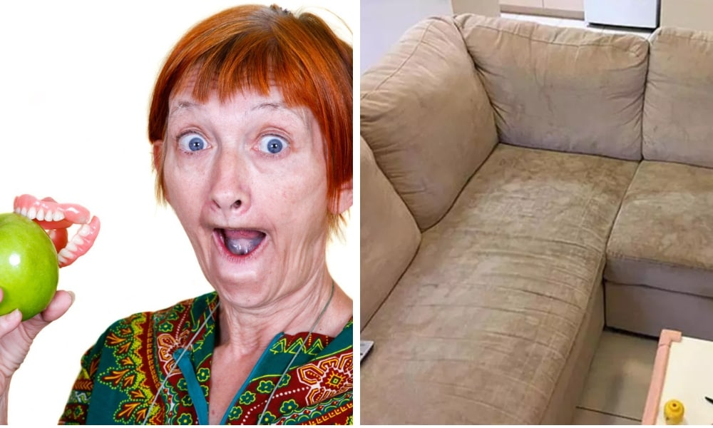 Mum uses $7 denture product to remove sofa stains in just minutes