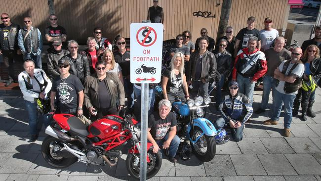 Moves to ban motorcycles in Acland St, St Kilda, sparked a rider protest. Picture: David Crosling