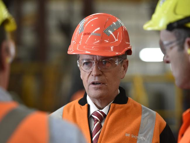 Bill Shorten in the hard hat … Picture: AAP Image/David Mariuz
