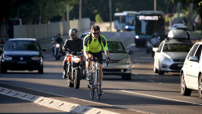 New laws kick in today seeing cyclists fined at a similar rate to motorists. Picture: John Grainger