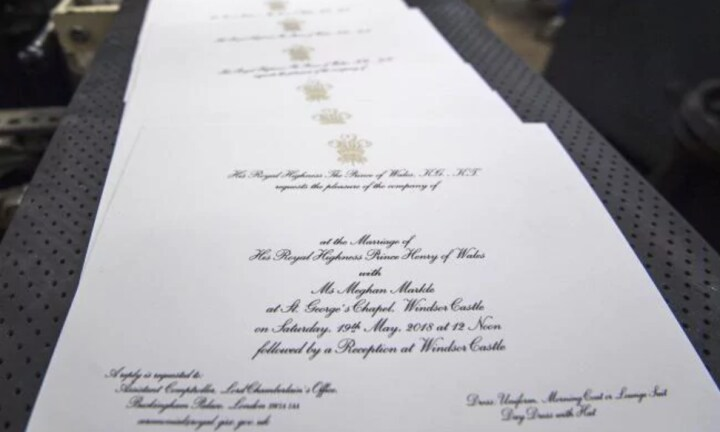 Invitations are printed at the workshop of Barnard and Westwood for Prince Harry and Meghan Markle's wedding. Picture: Victoria Jones/GettySource:Getty Images