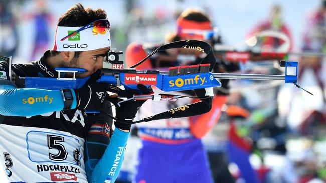 France's Martin Fourcade competes during the 2017 IBU World Championships Biathlon mixed relay race.