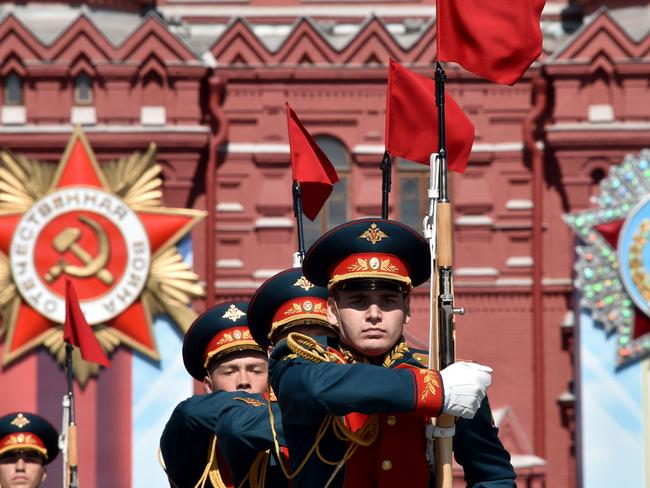 Russian servicemen are put through their paces during the parade.