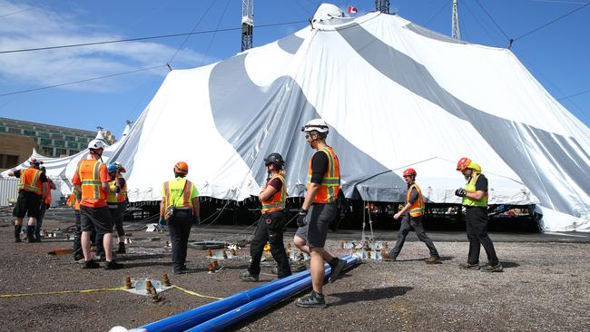 More than 550 pegs are needed to anchor the 20m Big Top. Photo by Jason McCawley/Getty Images