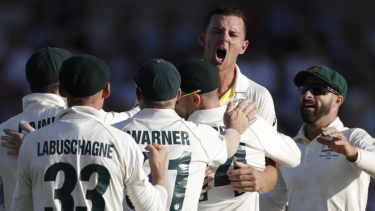 Josh Hazlewood celebrates the wicket of Joe Denly.