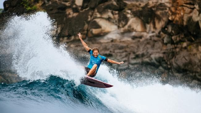 Seven-time WSL Champion Stephanie Gilmore of Australia wins the 2019 Lululemon Maui Pro at Honolua Bay. Picture: Ed Sloane/WSL via Getty Images