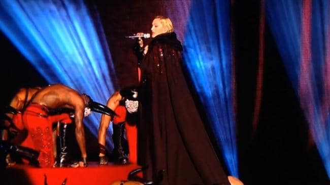 Madonna falls off stage at the Brit Awards