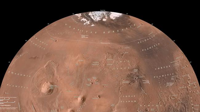 Mars Western Hemisphere North — The magnificent Olympus Mons, the largest of the volcanoes in the Tharsis Montes region is found in this quadrant of the planet. Volcanoes in this area are ten to a hundred times larger than those on Earth. Picture: National Geographic Maps