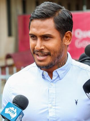 Former NRL player Ben Barba leaves Townsville court.