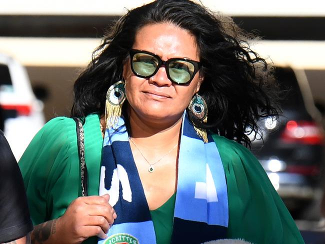 Uiatu 'Joan' Taufua, mother of Brisbane Broncos player Payne Haas, wore a NSW Blues scarf to court today. Picture: AAP Image/Dan Peled