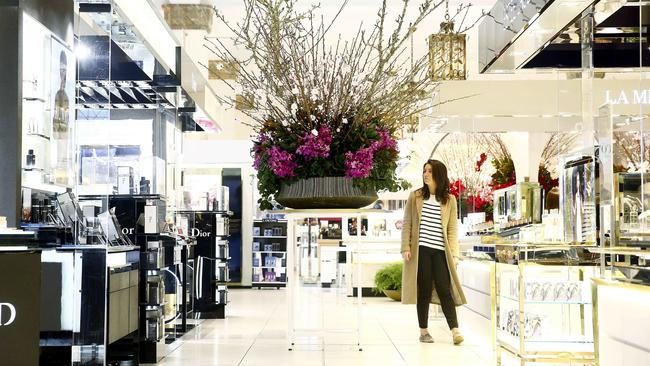 Myer has effectively ceded the top end space to David Jones, seen here during its Sydney CBD store's annual spring flower show. Picture: John Appleyard