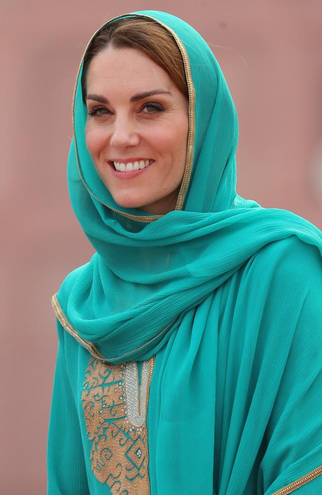 Catherine, Duchess of Cambridge arrives at the Badshahi Mosque within the Walled City during day four of their royal tour of Pakistan on October 17, 2019 in Lahore, Pakistan. Picture: Chris Jackson/Getty Images