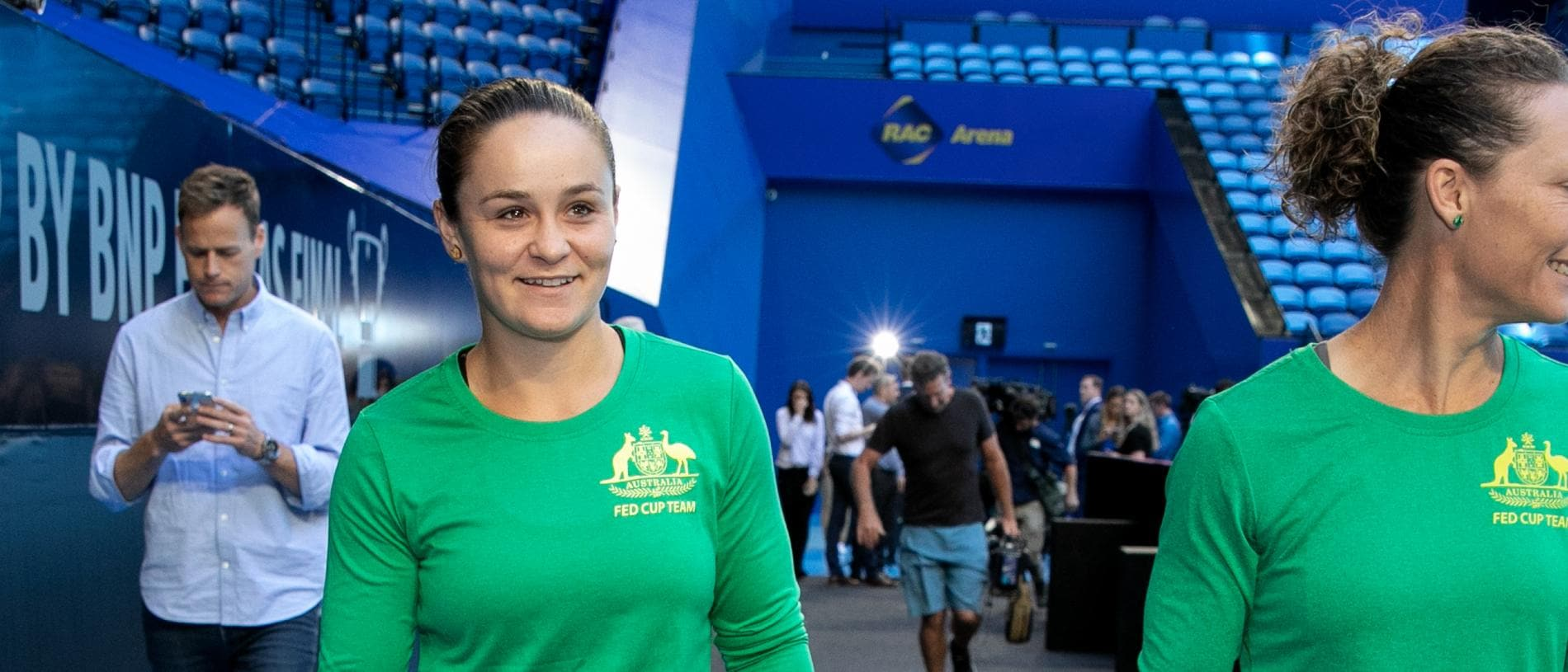 Tennis world No. 1 Ashleigh Barty (left) and Grand Slam champion Samantha Stosur before a media opportunity ahead of the 2019 Fed Cup at RAC Arena in Perth, Tuesday, November 5, 2019. (AAP Image/Fiona Hamilton) NO ARCHIVING