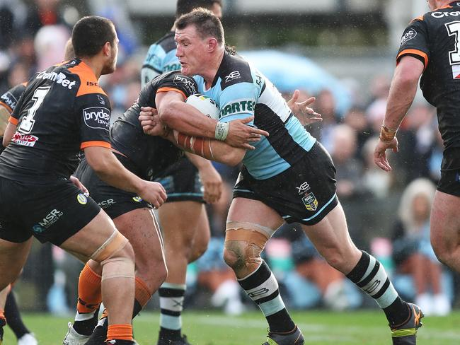 Cronulla's Paul Gallen on his way to scoring a try during the Cronulla Sharks v Wests Tigers NRL match at Southern Cross Group Stadium, Cronulla. Picture: Brett Costello