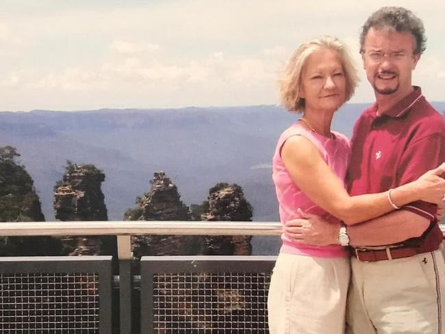 Sally and Richard, pictured here at the Three Sisters in the Blue Mountains, lived in Australia for several years. Picture: Supplied
