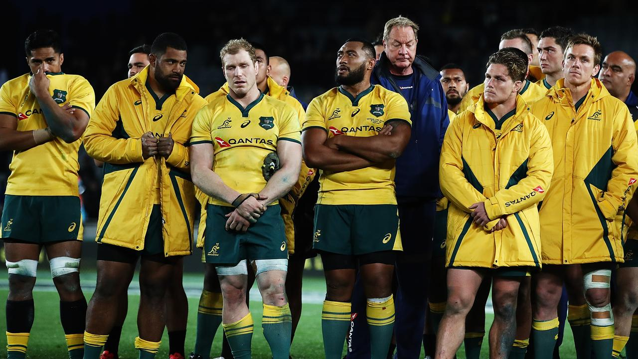 The Wallabies gather as a team as the All Blacks are presented with the Bledisloe Cup.
