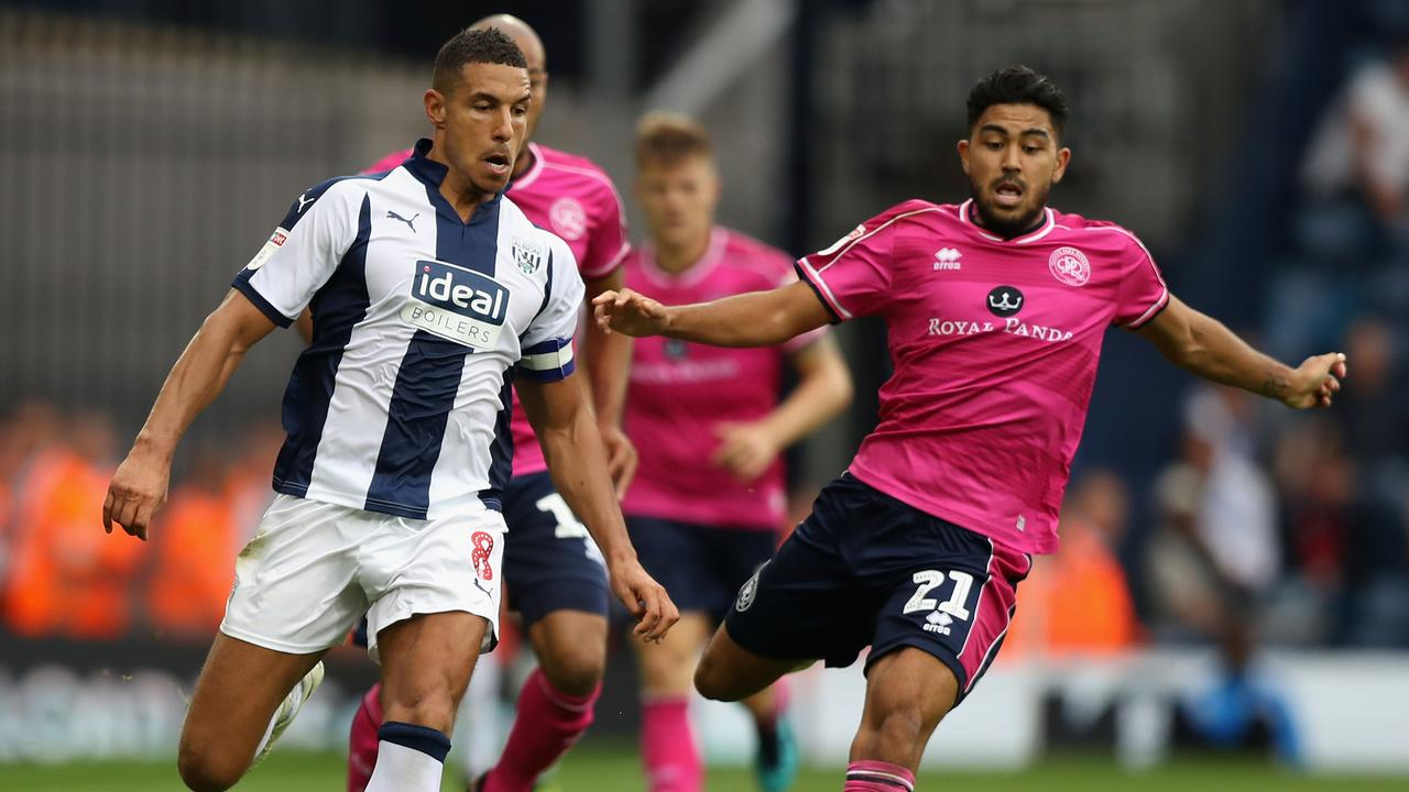 Jake Livermore holds off the advances of Massimo Luongo.
