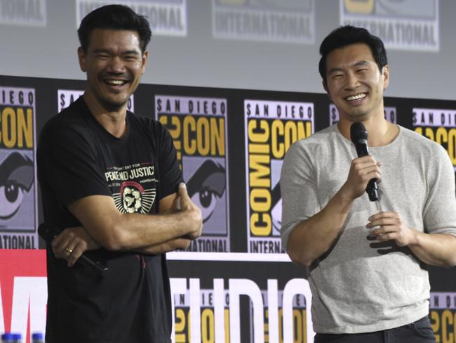 Destin Daniel Cretton, left, and Simu Liu speaking on the during the Marvel Studios panel at Comic-Con. Picture: Chris Pizzello/AP