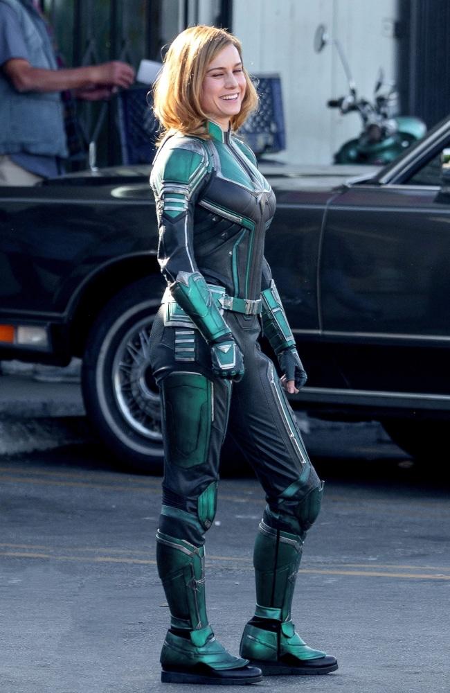 Brie Larson suits up as Captain Marvel. Photo: Backgrid Australia