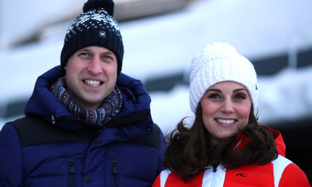 OSLO, NORWAY - FEBRUARY 02: CCatherine, Duchess of Cambridge and Prince William, Duke of Cambridge pose at Holmenkollen ski jump, where she and Prince William, Duke of Cambridge, will take a short tour of the museum.(Photo by Hannah McKay - Pool/Getty Images)