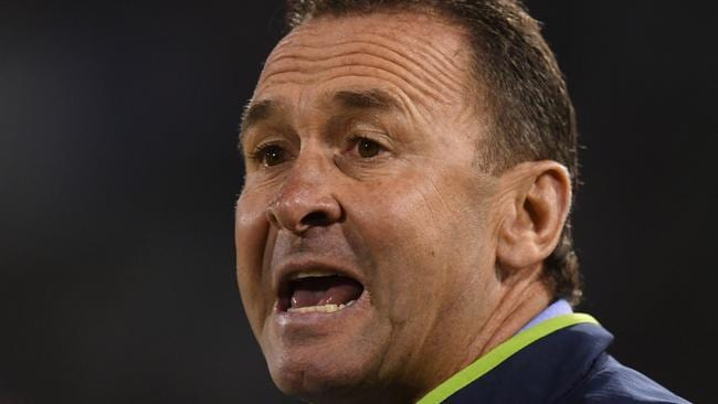Raiders coach Ricky Stuart reacts during the Round 8 NRL match between the Canberra Raiders and the Manly-Warringah Sea Eagles at GIO Stadium in Canberra, Friday, April 21, 2017. (AAP Image/Lukas Coch) NO ARCHIVING, EDITORIAL USE ONLY