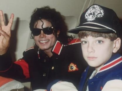 Michael Jackson and James Safechuck, who talks about abuse in Leaving Neverland. Picture: Leaving Neverland