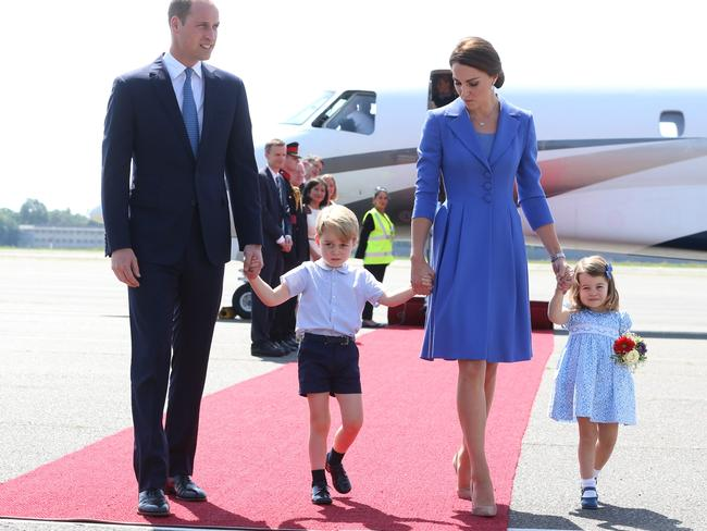 The royals on the tarmac in Berlin last week. Picture: Getty Images