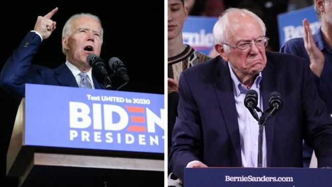 It's now Biden v Sanders. Images: Getty