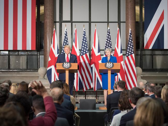 Mr Trump did not hold back on Brexit, protests and the Conservative leadership contest. Picture: Stefan Rousseau — WPA Pool /Getty Images.
