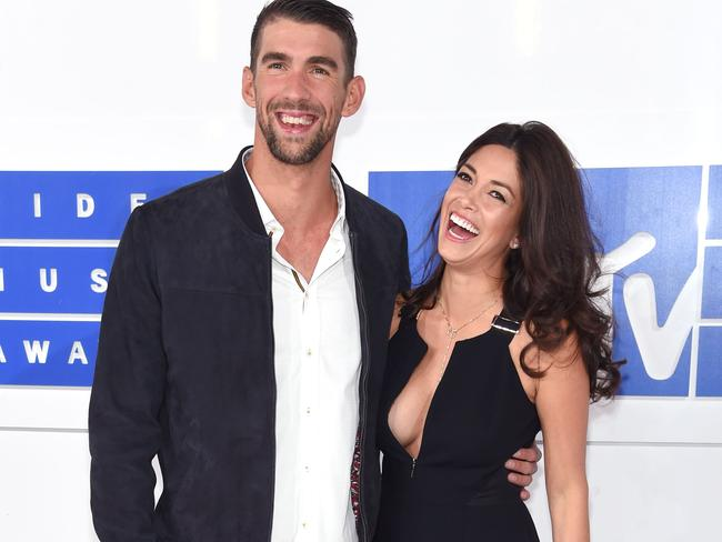 Michael Phelps and fiancee Nicole Johnson at the MTV VMAs at Madison Square Garden.