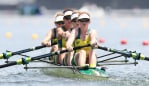 TOKYO, JAPAN - JULY 24: Lucy Stephan, Rosemary Popa, Jessica Morrison and Annabelle McIntyre of Team Australia compete during the Women's Four Heat 2 on day one of the Tokyo 2020 Olympic Games at Sea Forest Waterway on July 24, 2021 in Tokyo, Japan. (Photo by Cameron Spencer/Getty Images)
