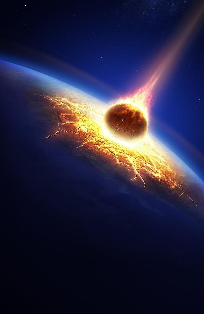 Earth and asteroid colliding.