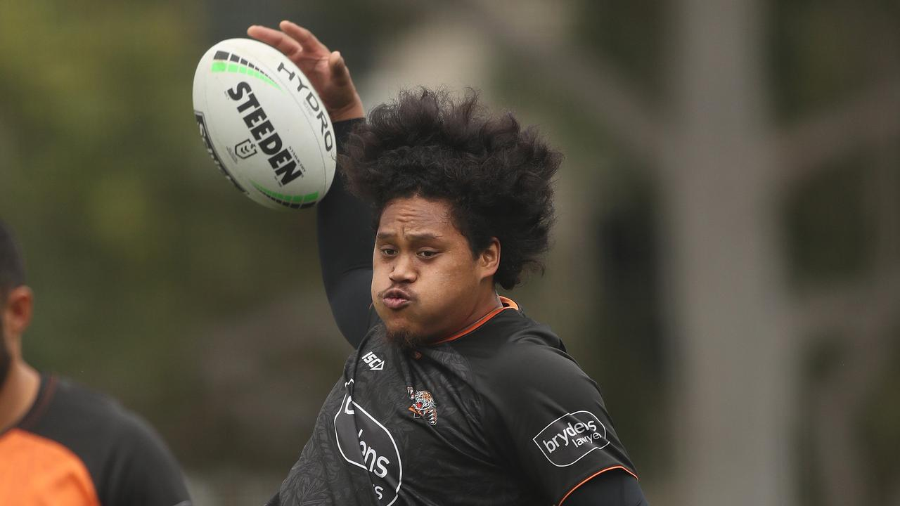 Tigers Luciano Leilua during Wests Tigers training at St Lukes Park
