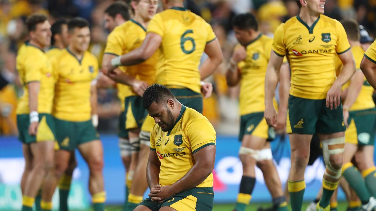 Taniela Tupou reacts after the Wallabies held on to beat the Springboks in Brisbane to snap a four match losing streak.