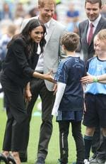 Prince Harry, Duke of Sussex and Meghan, Duchess of Sussex speak to players who are involved in community outreach projects at Croke Park, home of Ireland's largest sporting organisation, the Gaelic Athletic Association during their visit to Ireland on July 11, 2018 in Dublin, Ireland. Picture: Chris Jackson - Pool/Getty Images