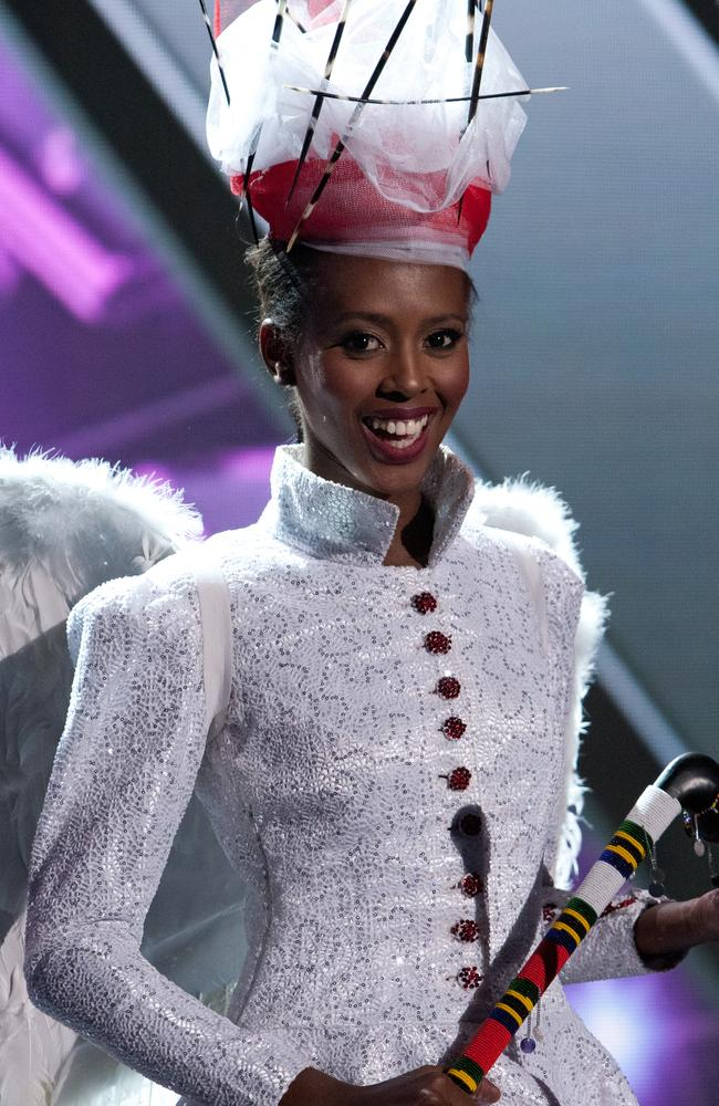 Lorraine Marriot, Miss Tanzania 2015 debuts her National Costume on stage at the 2015 Miss Universe Pagaent on December 16, 2015 in Las Vegas. Picture: HO/The Miss Universe Organization