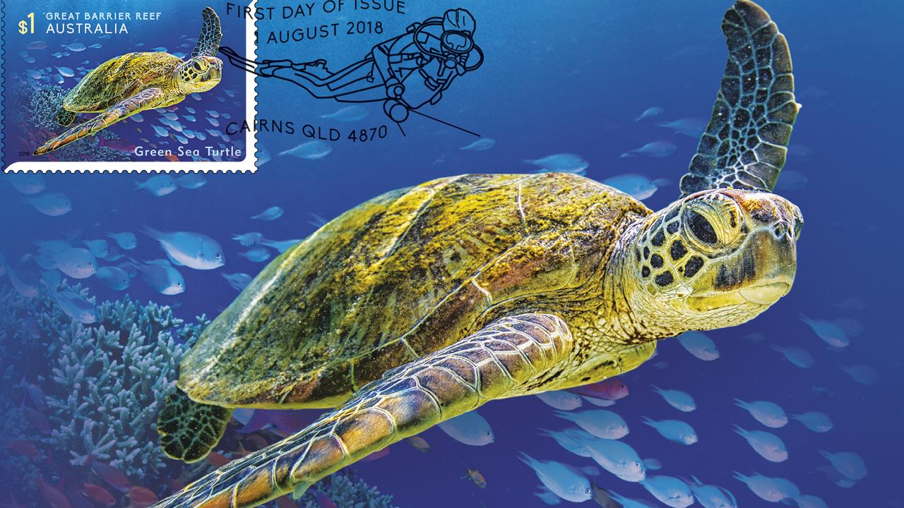 The Green Sea Turtle in Australia Post's new stamp series Reef Safari.
