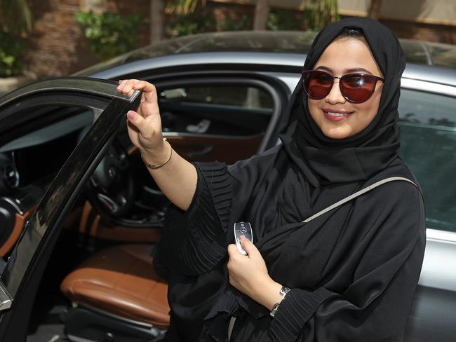 Fadya Fahad, 23, one of the first female drivers for ride-sharing company Careem on the first day she is legally allowed to drive in Saudi Arabia. Picture: Sean Gallup/Getty Images