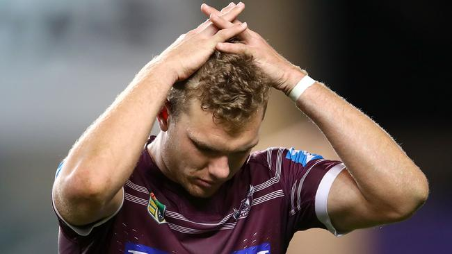 A gutted Tom Trbojevic after Penrith's win.