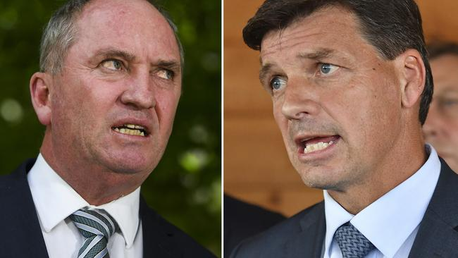 Barnaby Joyce and Angus Taylor. Picture: AAP