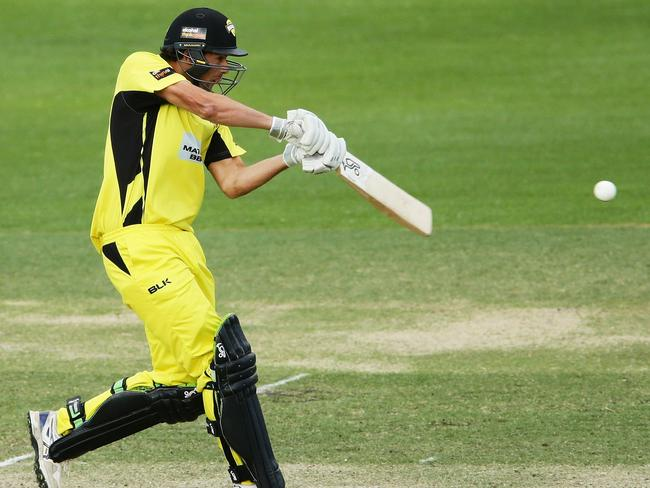 Ashton Agar in full swing against the Cricket Australia XI on Monday. Picture: Matt King/Getty Images