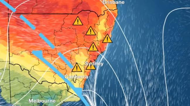Much of New South Wales is expecting severe to extreme fire danger on Tuesday. Picture: Bureau of Meteorology.