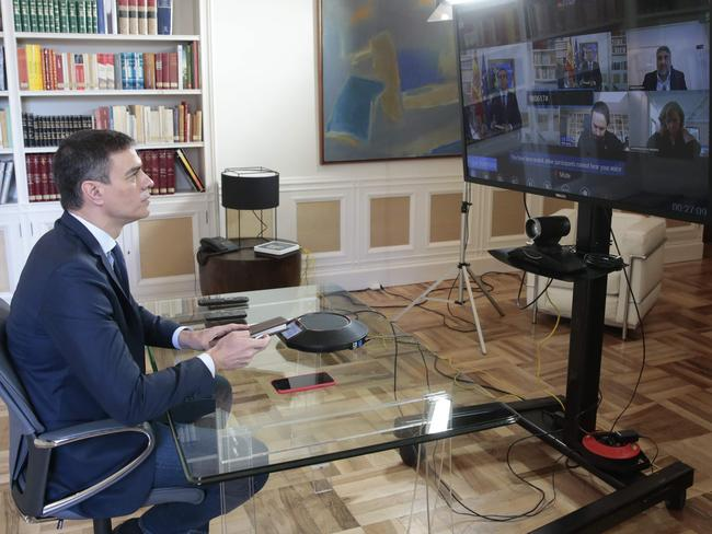 Spanish Prime Minister Pedro Sanchez holding a videoconference. Picture: AFP