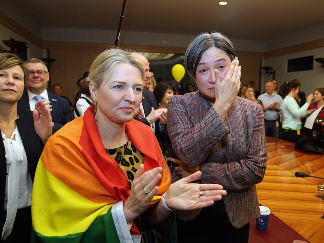 The Same Sex Marriage Vote was watched by Senator Penny Wong and the politicians from all parties in Parliament House in Canberra. Picture: Gary Ramage