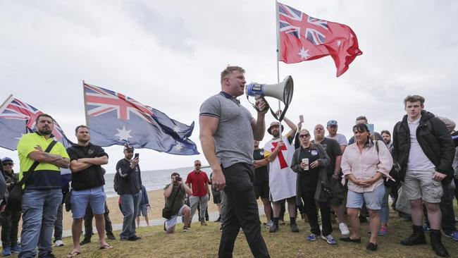 United Patriots Front leader Blair Cottrell speaks at the rally. Picture: Wayne Taylor