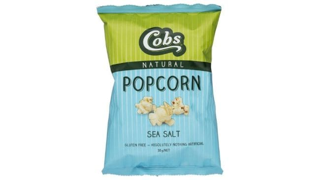 Cobs Natural Popcorn Sea Salt, $2.85, at Woolworths. Image: Supplied