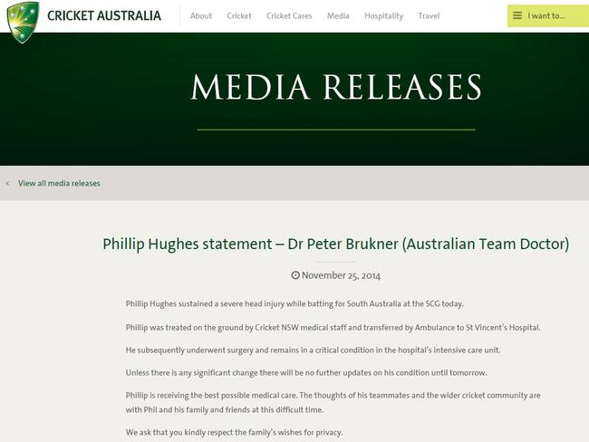 The statement from Cricket Australia on Hughes' condition.