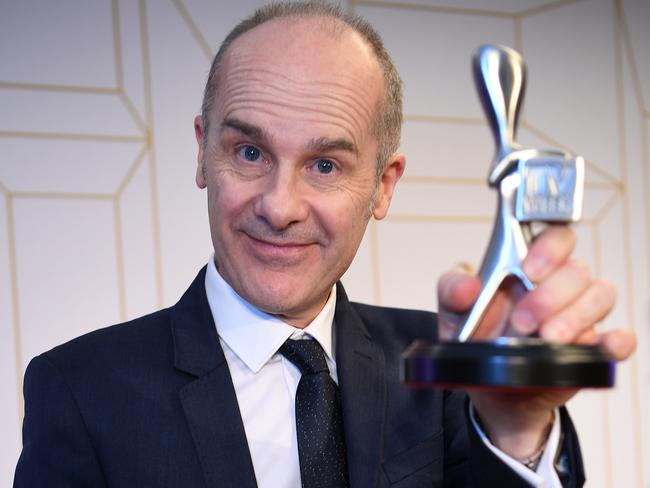Tom Gleisner, presenter of Have You Been Paying Attention, poses with his Logie award for the most popular comedy program. Picture: AAP
